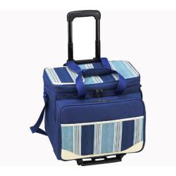 Picnic at Ascot Picnic Cooler for Four/Wheeled Cart Blue/Blue Stripe