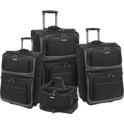 Traveler's Choice Lightweight 4-Piece Luggage Set Black