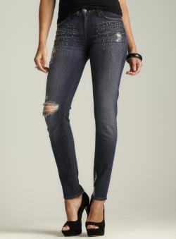 7 For All Mankind Stud Embellished Distressed Jeans