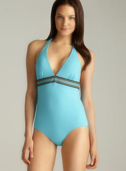 Anne Cole Banded Elastic Striped Halter One-Piece