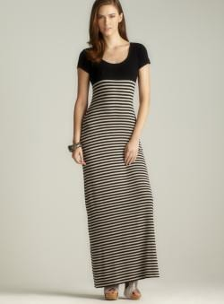 Max Studio Black Scoop Neck Striped Maxi Dress