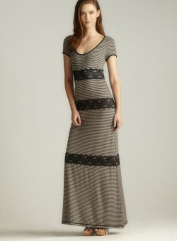 Max Studio Scoop Neck Striped Lace Maxi Dress