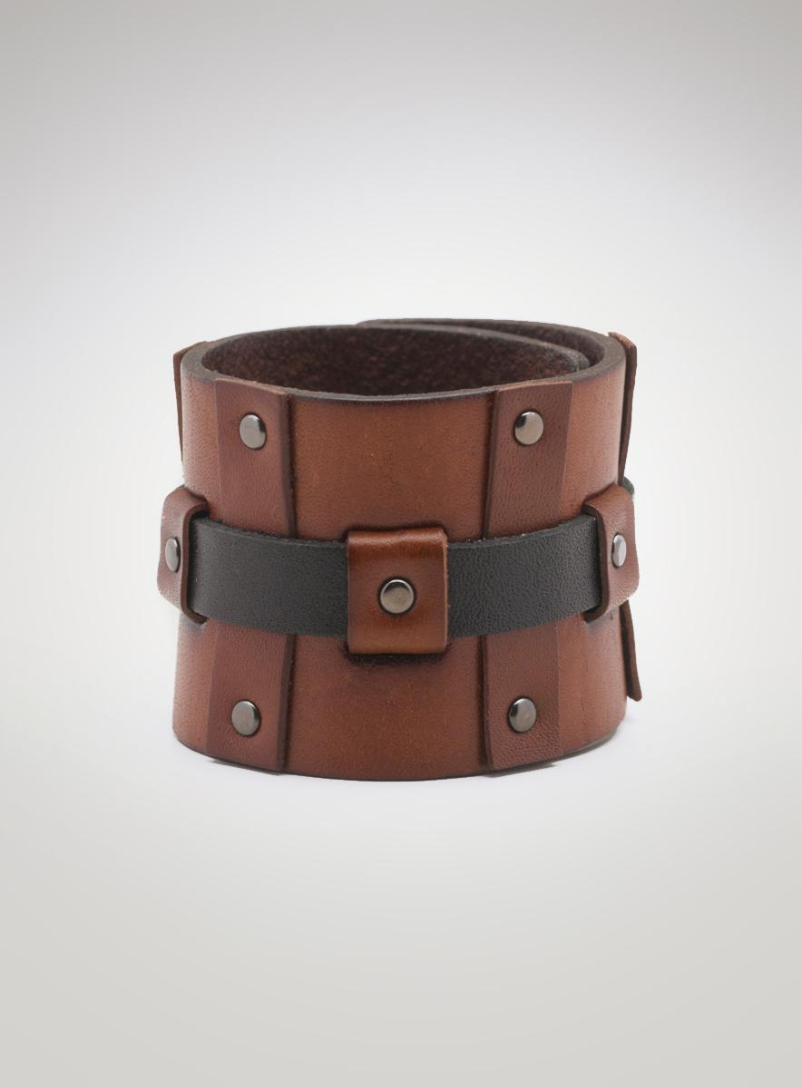 Calvin Klein Wide Leather Studded Cuff Braclet