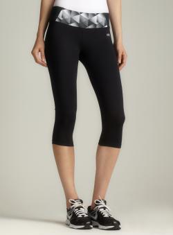 Marika Tek Black Banded Waist Capri Legging