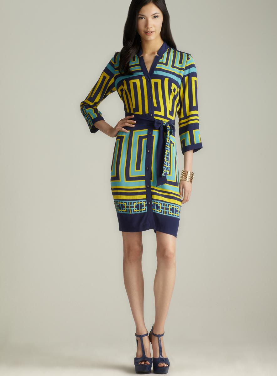 Beth Bowley Notch Collar Tie Front Printed Dress