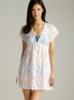 Jordan Taylor Tie Back Mesh V-Neck Cover-Up