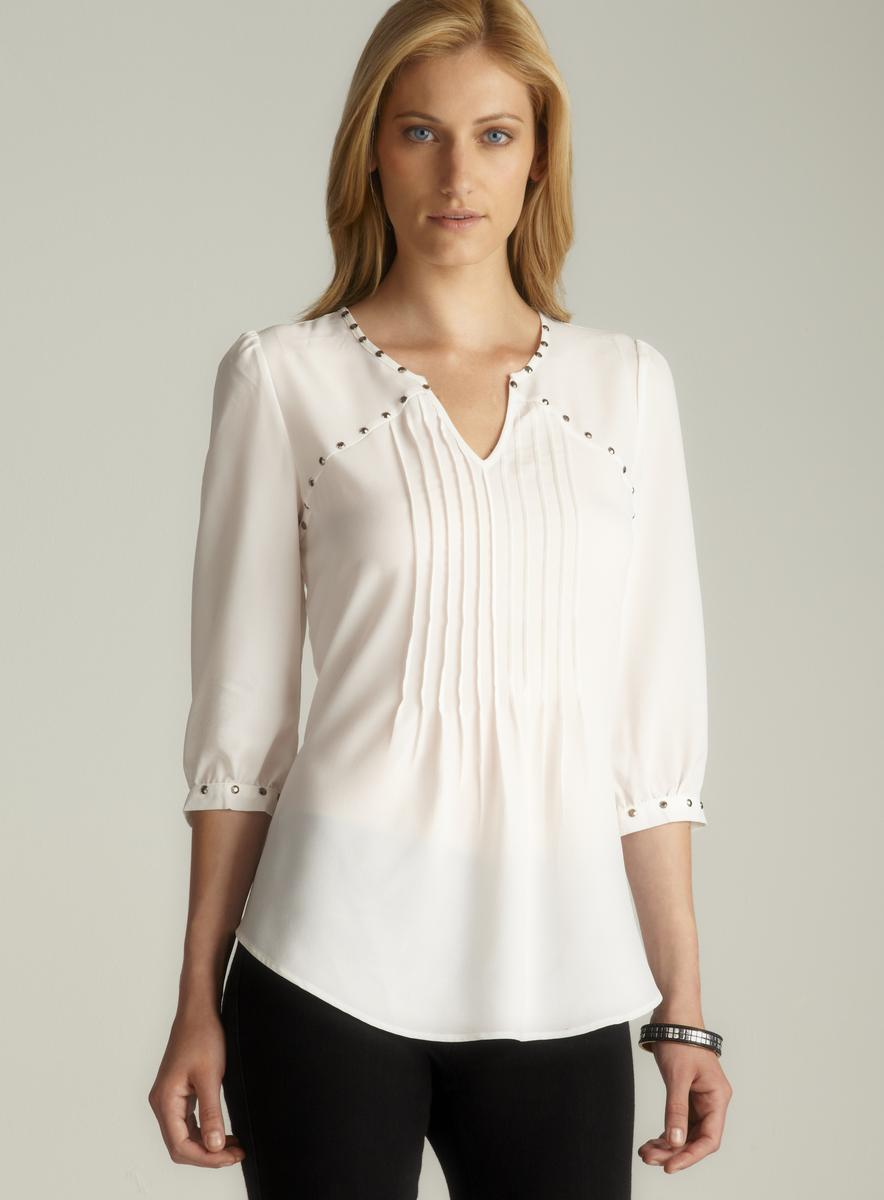Spense Embellished Trim V-Neck Pintucked Blouse