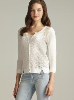 August Silk Lace Front Cardigan