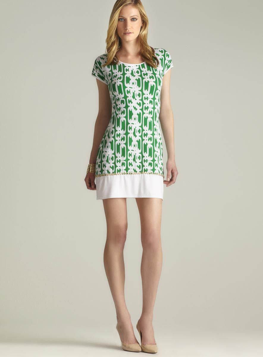 MSK Chain Link Border Printed Dress