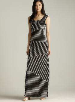 Max Studio Asymmetrical Stripe Jersey Dress