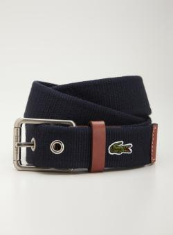 Lacoste Silver Buckle Leather Trim Belt