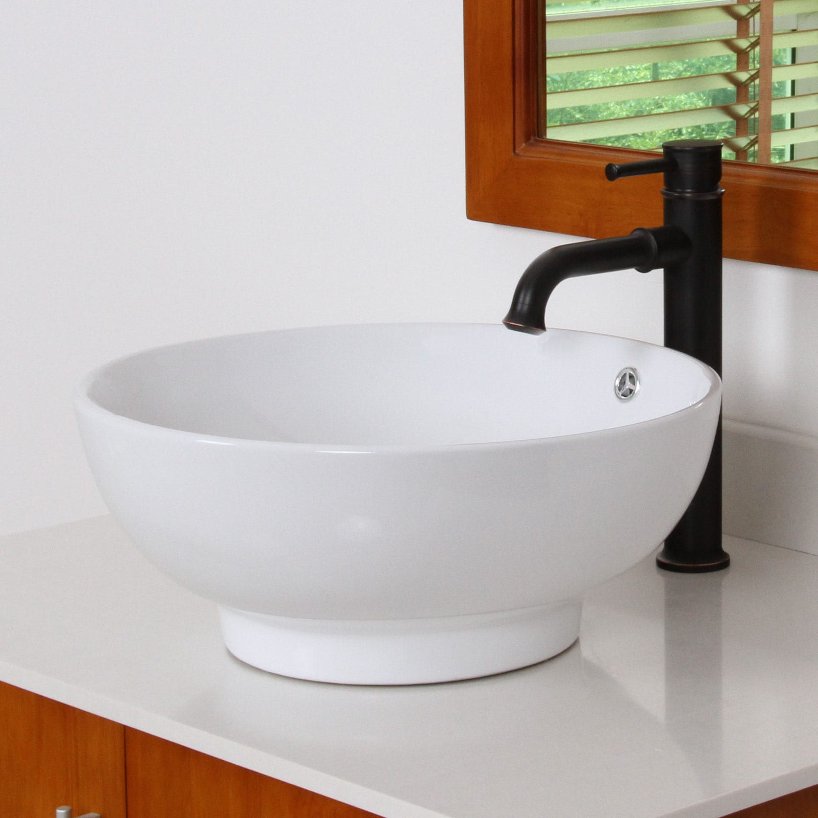 ELITE 9851F371067ORB High Temperature Grade A Ceramic Bathroom Sink With Round Design and Chrome Finish Faucet Combo