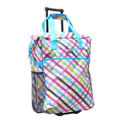 CalPak Big Eazy Bright Check Rolling Shopper Tote