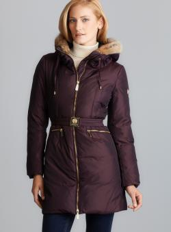 Vince Camuto Belted Down Coat With Detachable Fur Trim Hood