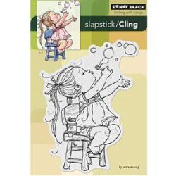 Penny Black Cling Rubber Stamp 4 X6 - Bubble Girl