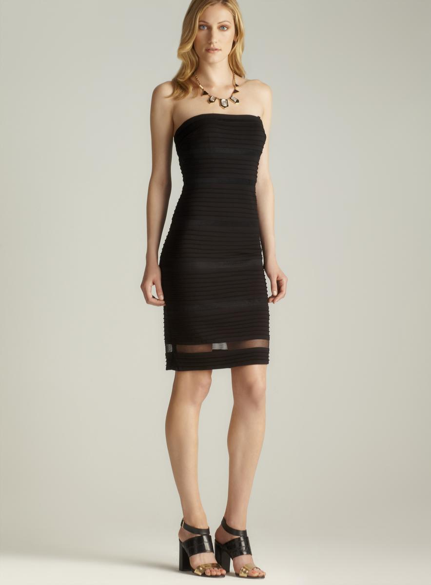 Adrianna Papell Strapless Pintucked Dress