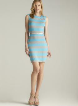Calvin Klein Shoulder Pleated Striped Belted Jersey Dress