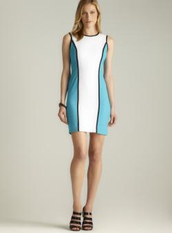 Calvin Klein Contrast Piping Colorblock Dress