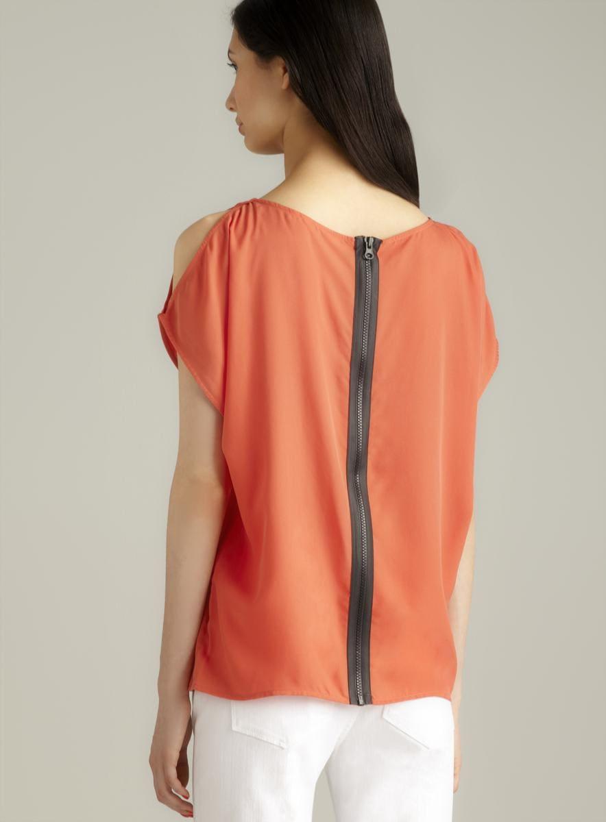 Zoa Back Zip Front Button Cold Shoulder Top