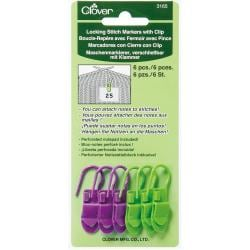 Locking Stitch Markers With Clip 6/Pkg - 6/Pkg