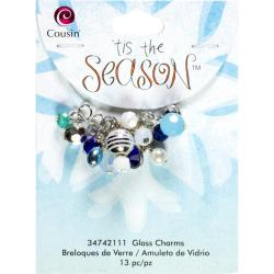Tis The Season Glass/Acrylic/Metal Charms - Drops Blue 13/Pkg