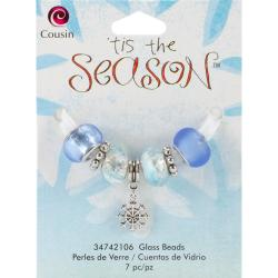 Tis The Season Large Hole Beads - Snowflake Glass/Metal 7/Pkg