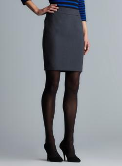 Calvin Klein Charcoal Zipper Back Petite Pencil Skirt