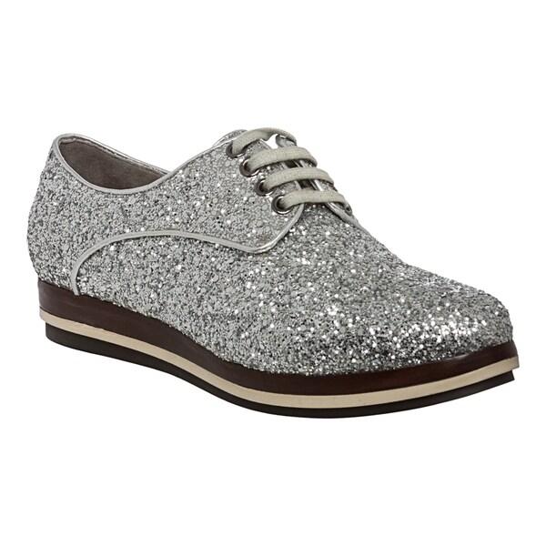 Miu Miu Women's Silver Glitter Brogues