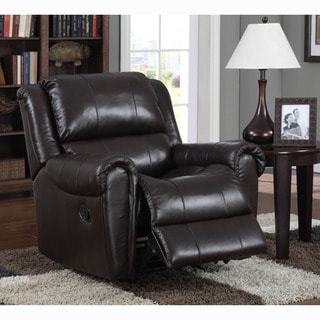 Brody Brown Italian Leather Rocker Recliner Chair