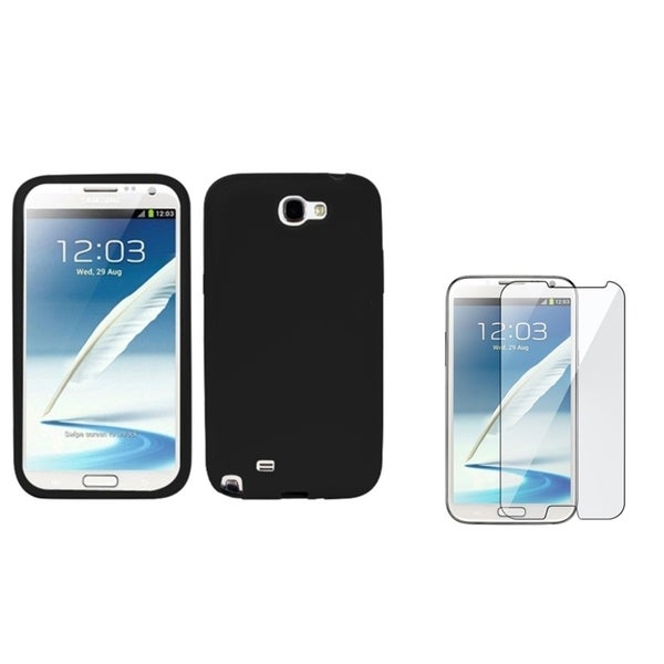 INSTEN Black Phone Case Cover/ Screen Protector for Samsung Galaxy Note II N7100