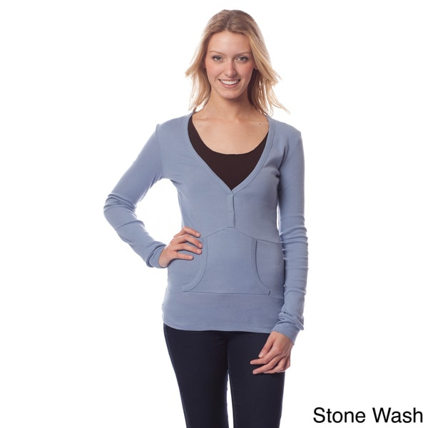 AtoZ Women's Fitted Pull-over Long Sleeve Shirt
