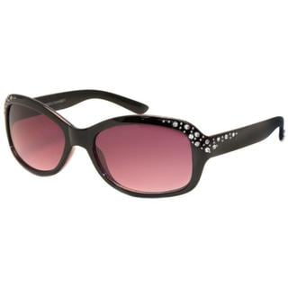 'Diamond' Women's Black Rhinestone-temple Sunglasses