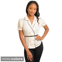Stanzino Women's Double Breasted Collared Belted Top