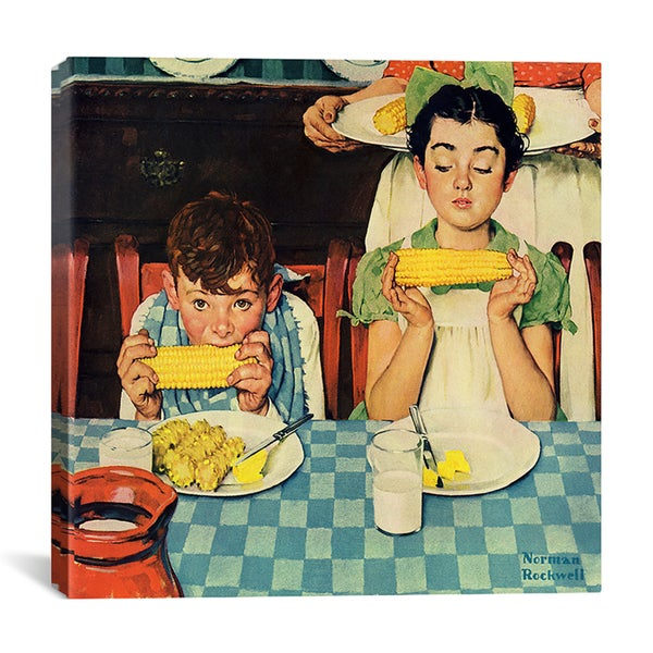 Norman Rockwell 'Who's Having More Fun (Kids Eating Corn)' Canvas Wall Art
