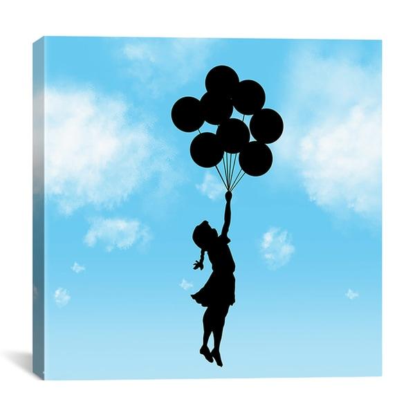 Banksy 'Balloon Girl Flying (Blue)' Canvas Art