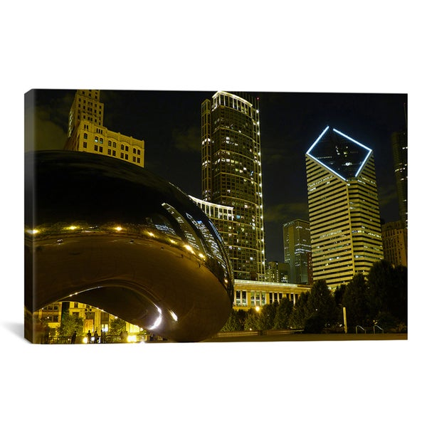 'Chicago Cloud Gate Aka The Bean Cityscape' Photographic Canvas Art Print