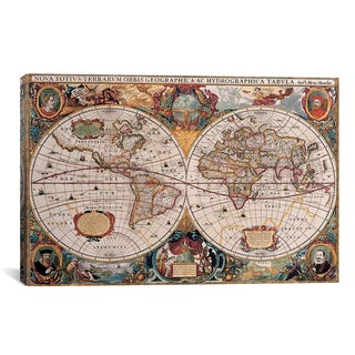 'Antique World Map by Henricus Hondius' Canvas Art Print