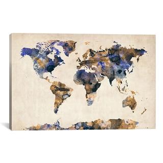 Michael Thompsett 'Urban Watercolor World Map V' Canvas Art Print