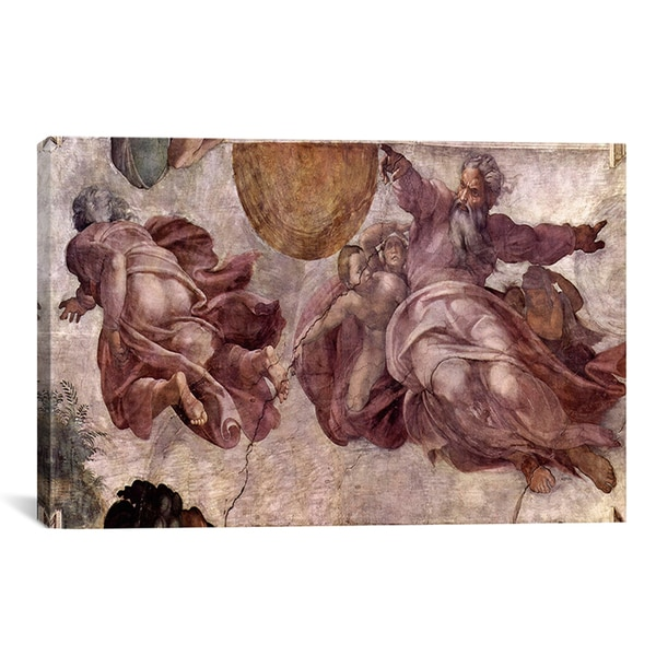 Michelangelo Buonarroti 'The Creation of the Sun, Moon and Earth 1535-1541' Canvas Art Print