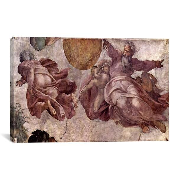Michelangelo Buonarroti 'The Creation of the Sun, Moon and Earth 1535-1541' Canvas Art Print