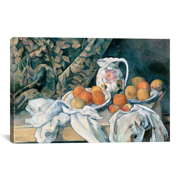 Paul Cezanne 'Still Life with a Curtain 1895' Canvas Art Print
