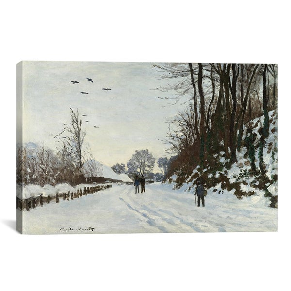 Claude Monet 'La Route De La Ferme Saint-Simeon En Hiver 1867' Canvas Art Print
