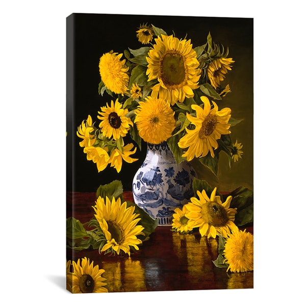 Christopher Pierce 'Sunflowers in Blue & White Chinese Vase' Canvas Art