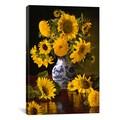 Christopher Pierce 'Sunflowers in Blue & White Chinese Vase' Canvas Art