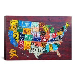 David Bowman 'License Plate Map USA' Canvas Art