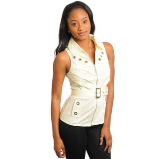 Stanzino Women's Cream Zip-up Sleeveless Belted Top