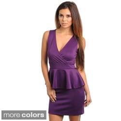 Stanzino Women's Sleeveless V-neck Peplum Party Dress