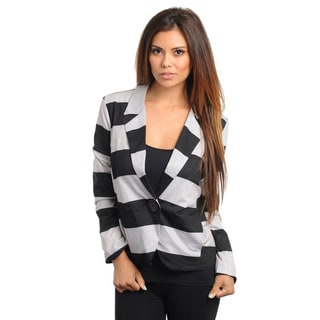 Stanzino Women's Striped Long Sleeve Single-button Blazer