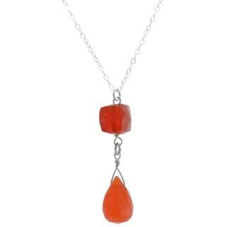 Ashanti Sterling Silver Carnelian Briolette Necklace (Sri Lanka)