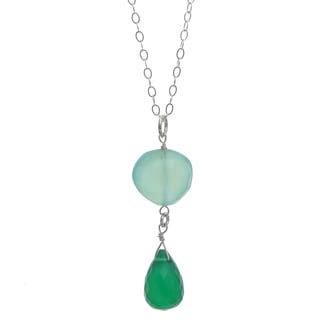 Ashanti Sterling Silver Emerald and Aqua Chalcedony Necklace (Sri Lanka)